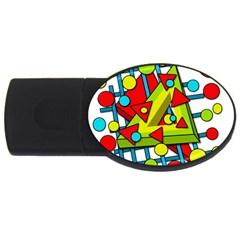 Crazy Geometric Art Usb Flash Drive Oval (4 Gb)  by Valentinaart