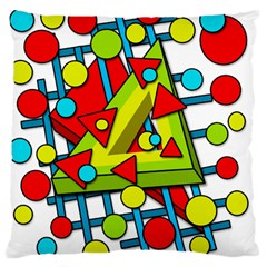 Crazy Geometric Art Large Cushion Case (two Sides) by Valentinaart