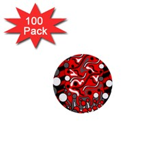 Red Mess 1  Mini Buttons (100 Pack)  by Valentinaart