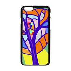 Decorative Tree 4 Apple Iphone 6/6s Black Enamel Case by Valentinaart