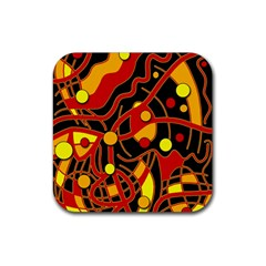 Orange Floating Rubber Coaster (square)  by Valentinaart