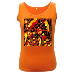 Orange Floating Women s Dark Tank Top by Valentinaart