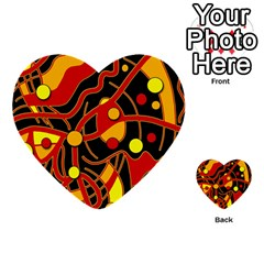 Orange Floating Multi Purpose Cards (heart)  by Valentinaart