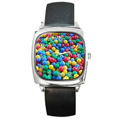 Funny Colorful Red Yellow Green Blue Kids Play Balls Square Metal Watch by yoursparklingshop