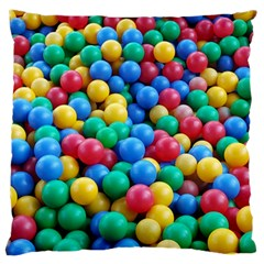 Funny Colorful Red Yellow Green Blue Kids Play Balls Large Cushion Case (one Side) by yoursparklingshop