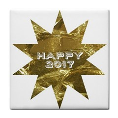 Happy New Year 2017 Gold White Star Tile Coasters by yoursparklingshop