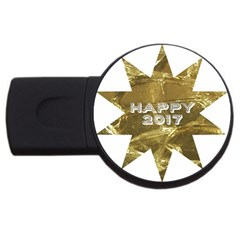 Happy New Year 2017 Gold White Star Usb Flash Drive Round (2 Gb)  by yoursparklingshop