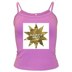 Happy New Year 2017 Gold White Star Dark Spaghetti Tank by yoursparklingshop