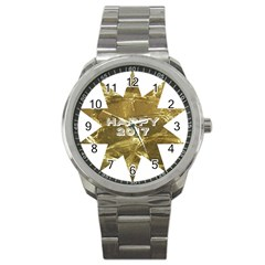 Happy New Year 2017 Gold White Star Sport Metal Watch by yoursparklingshop