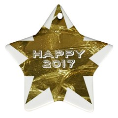 Happy New Year 2017 Gold White Star Star Ornament (two Sides)  by yoursparklingshop
