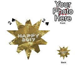 Happy New Year 2017 Gold White Star Playing Cards 54 (heart)  by yoursparklingshop