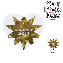 Happy New Year 2017 Gold White Star Multi Purpose Cards (heart)  by yoursparklingshop