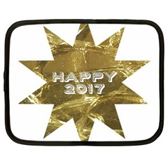 Happy New Year 2017 Gold White Star Netbook Case (large) by yoursparklingshop