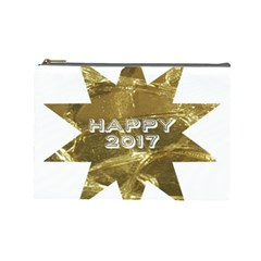 Happy New Year 2017 Gold White Star Cosmetic Bag (large)  by yoursparklingshop