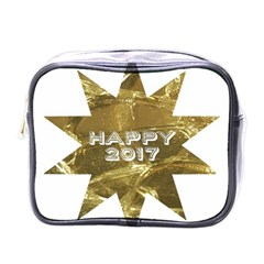 Happy New Year 2017 Gold White Star Mini Toiletries Bags by yoursparklingshop