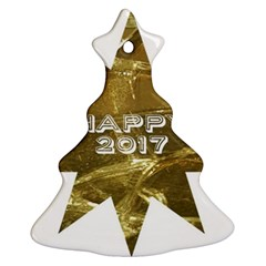 Happy New Year 2017 Gold White Star Ornament (christmas Tree) by yoursparklingshop