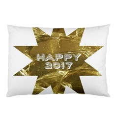 Happy New Year 2017 Gold White Star Pillow Case (two Sides)