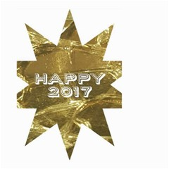 Happy New Year 2017 Gold White Star Small Garden Flag (two Sides) by yoursparklingshop