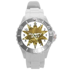 Happy New Year 2017 Gold White Star Round Plastic Sport Watch (l) by yoursparklingshop