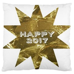 Happy New Year 2017 Gold White Star Large Cushion Case (two Sides) by yoursparklingshop