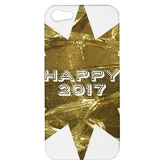 Happy New Year 2017 Gold White Star Apple Iphone 5 Hardshell Case by yoursparklingshop