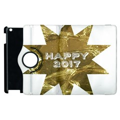 Happy New Year 2017 Gold White Star Apple Ipad 2 Flip 360 Case by yoursparklingshop