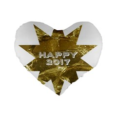 Happy New Year 2017 Gold White Star Standard 16  Premium Heart Shape Cushions by yoursparklingshop