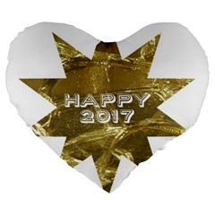 Happy New Year 2017 Gold White Star Large 19  Premium Flano Heart Shape Cushions by yoursparklingshop