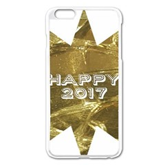 Happy New Year 2017 Gold White Star Apple Iphone 6 Plus/6s Plus Enamel White Case by yoursparklingshop