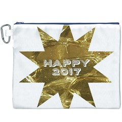 Happy New Year 2017 Gold White Star Canvas Cosmetic Bag (xxxl) by yoursparklingshop