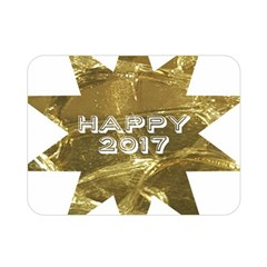 Happy New Year 2017 Gold White Star Double Sided Flano Blanket (mini)  by yoursparklingshop