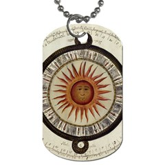 Ancient Aztec Sun Calendar 1790 Vintage Drawing Dog Tag (one Side) by yoursparklingshop