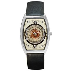 Ancient Aztec Sun Calendar 1790 Vintage Drawing Barrel Style Metal Watch by yoursparklingshop