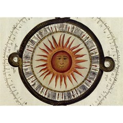 Ancient Aztec Sun Calendar 1790 Vintage Drawing Birthday Cake 3d Greeting Card (7x5) by yoursparklingshop