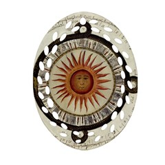 Ancient Aztec Sun Calendar 1790 Vintage Drawing Oval Filigree Ornament (2 Side)  by yoursparklingshop
