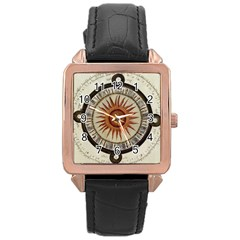 Ancient Aztec Sun Calendar 1790 Vintage Drawing Rose Gold Leather Watch  by yoursparklingshop