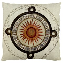 Ancient Aztec Sun Calendar 1790 Vintage Drawing Large Flano Cushion Case (two Sides) by yoursparklingshop