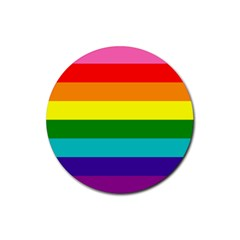 Colorful Stripes Lgbt Rainbow Flag Rubber Coaster (round)  by yoursparklingshop