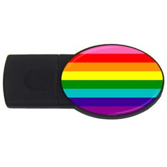 Colorful Stripes Lgbt Rainbow Flag Usb Flash Drive Oval (2 Gb)  by yoursparklingshop