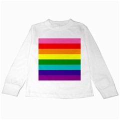 Colorful Stripes Lgbt Rainbow Flag Kids Long Sleeve T Shirts by yoursparklingshop