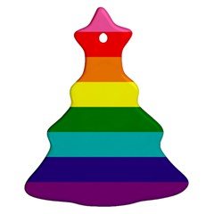 Colorful Stripes Lgbt Rainbow Flag Ornament (christmas Tree) by yoursparklingshop