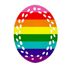 Colorful Stripes Lgbt Rainbow Flag Ornament (oval Filigree)