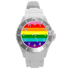 Colorful Stripes Lgbt Rainbow Flag Round Plastic Sport Watch (l) by yoursparklingshop
