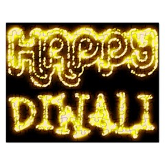 Happy Diwali Yellow Black Typography Rectangular Jigsaw Puzzl by yoursparklingshop