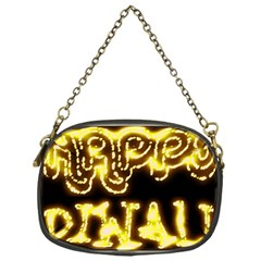 Happy Diwali Yellow Black Typography Chain Purses (one Side)  by yoursparklingshop