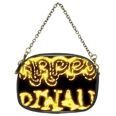 Happy Diwali Yellow Black Typography Chain Purses (two Sides)  by yoursparklingshop