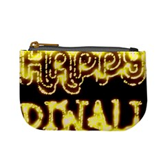 Happy Diwali Yellow Black Typography Mini Coin Purses by yoursparklingshop