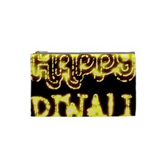 Happy Diwali Yellow Black Typography Cosmetic Bag (small)  by yoursparklingshop