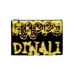 Happy Diwali Yellow Black Typography Cosmetic Bag (medium)  by yoursparklingshop