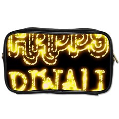 Happy Diwali Yellow Black Typography Toiletries Bags 2 Side by yoursparklingshop